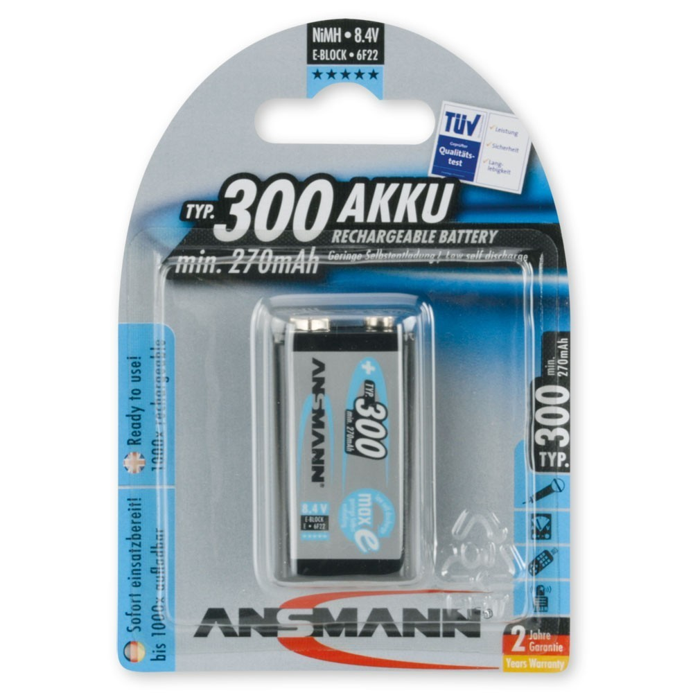 ansmann 9v akku e block 300mah ready to use der. Black Bedroom Furniture Sets. Home Design Ideas