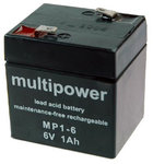 Multipower MP1-6 Bleiakku 6V - 1Ah Faston 4,8mm